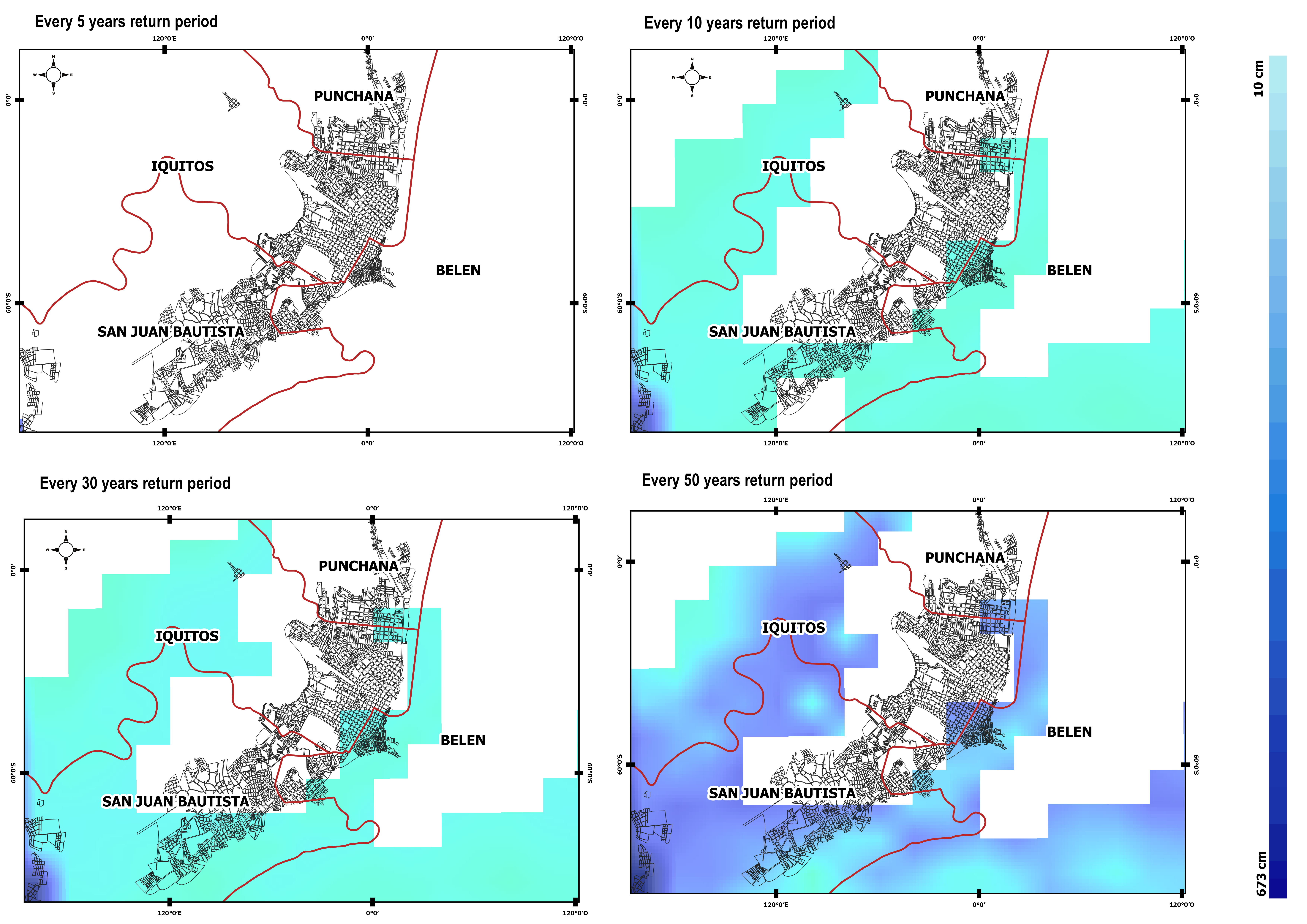 Return period maps – showing distribution of inundated area for events at increasingly rare occurrence levels